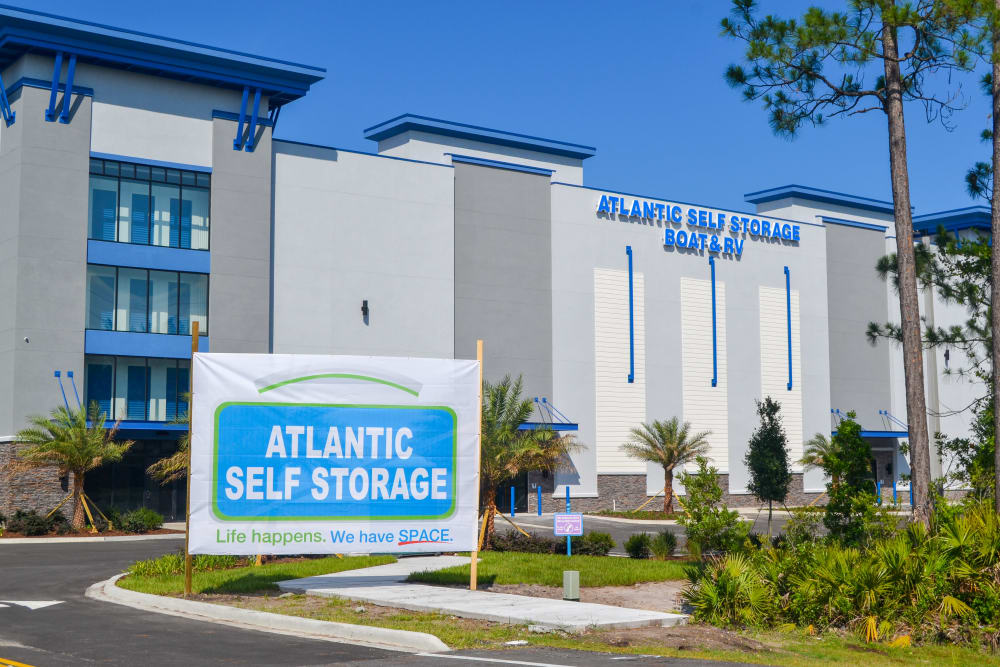 Parking lot entrance at Atlantic Self Storage in St. Augustine, Florida