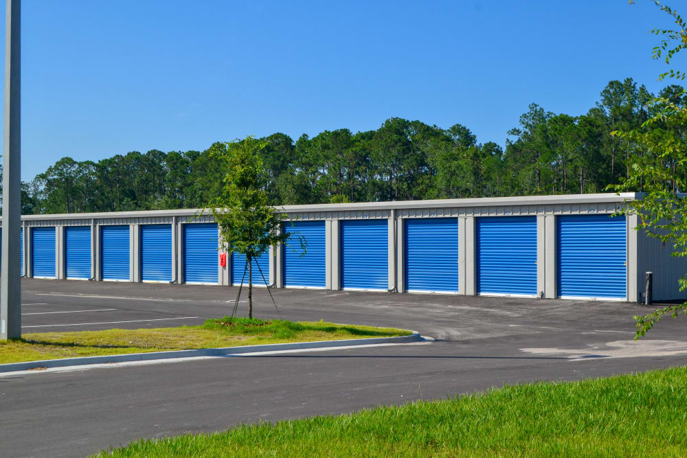 Exterior drive up units at Atlantic Self Storage in St. Augustine, Florida