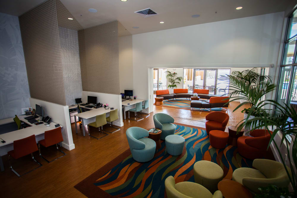 Interior view of the lavish leasing center at Kapolei Lofts in Kapolei, HI