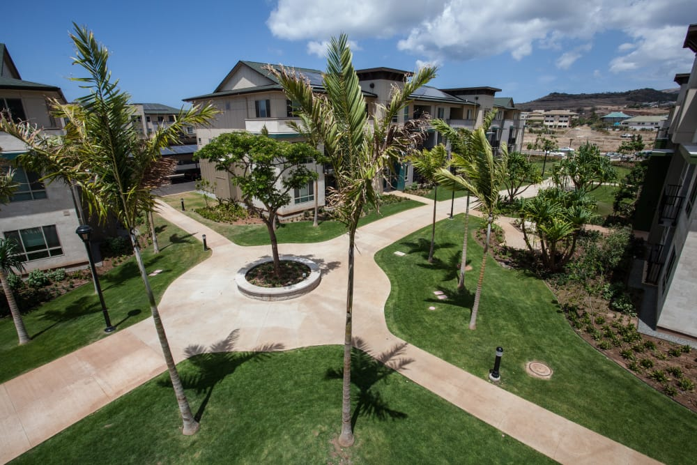 Resident buildings and courtyard view from upper level at Kapolei Lofts in Kapolei, HI