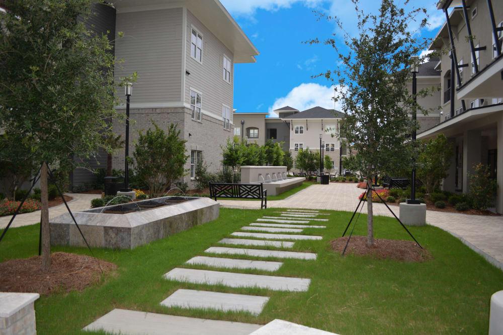 Park Rowe Village at Perkins Rowe offers beautiful walking paths in Baton Rouge, Louisiana