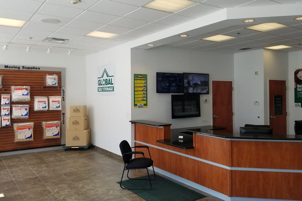 The front lobby at Global Self Storage in Rochester, New York