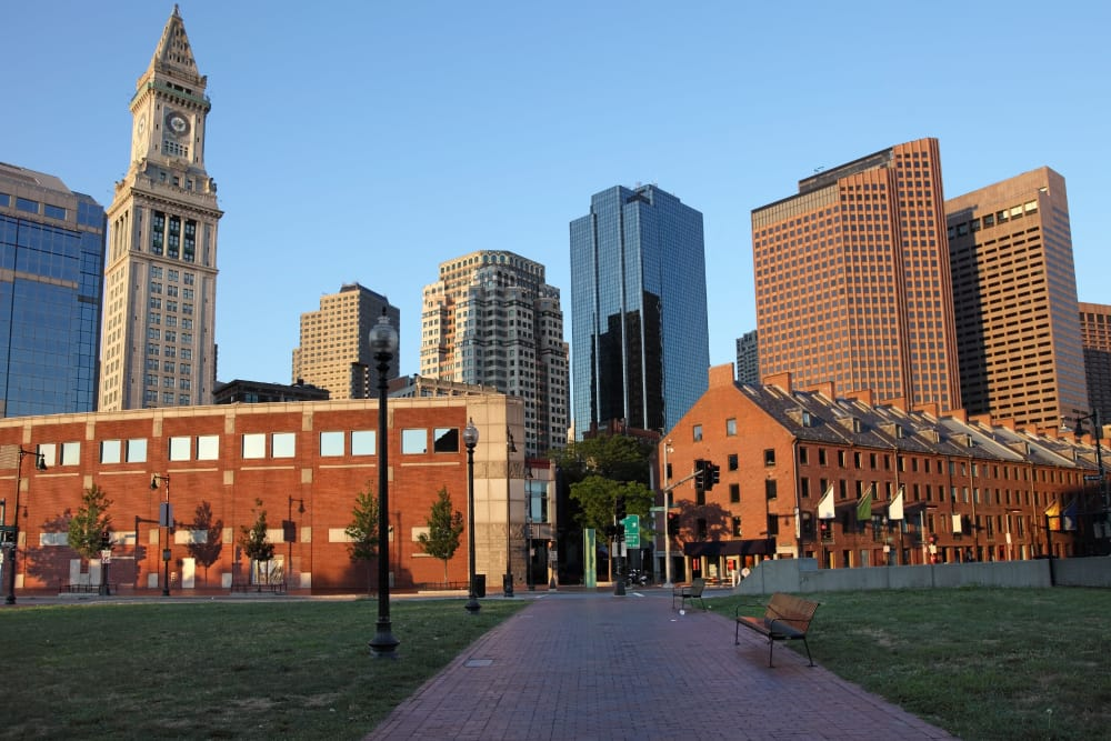 Downtown high-rise buildings near 244 Hanover Apartment Homes in Boston, MA