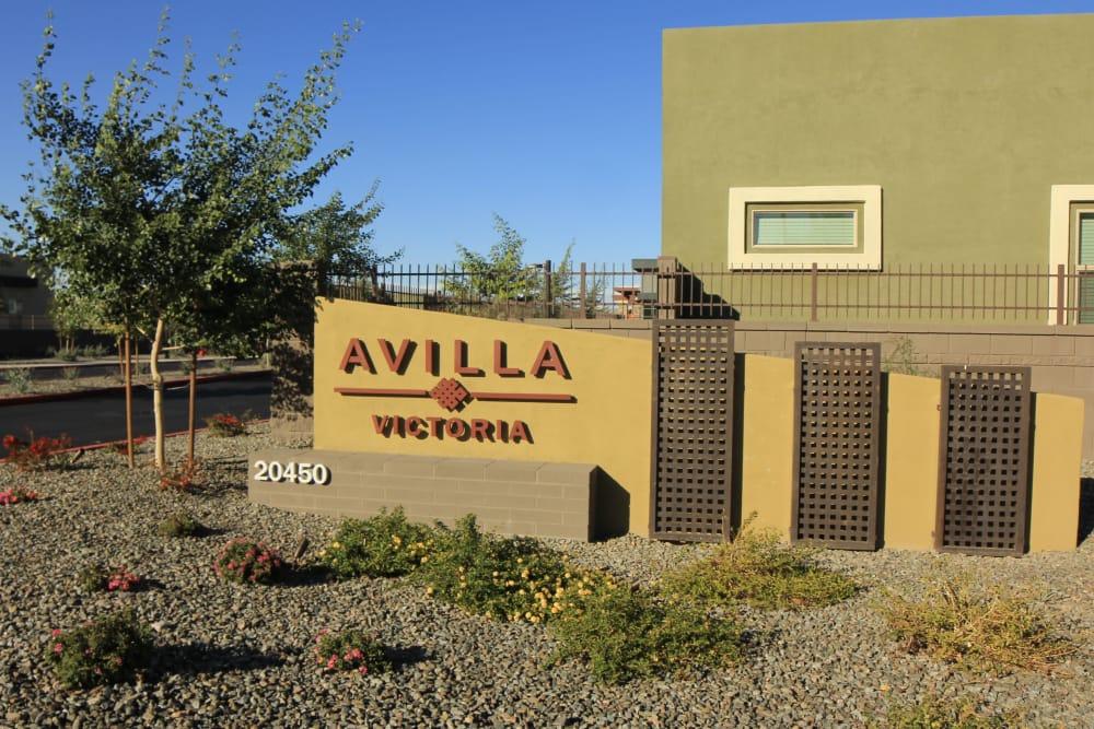 Monument sign at Avilla Victoria in Queen Creek, Arizona