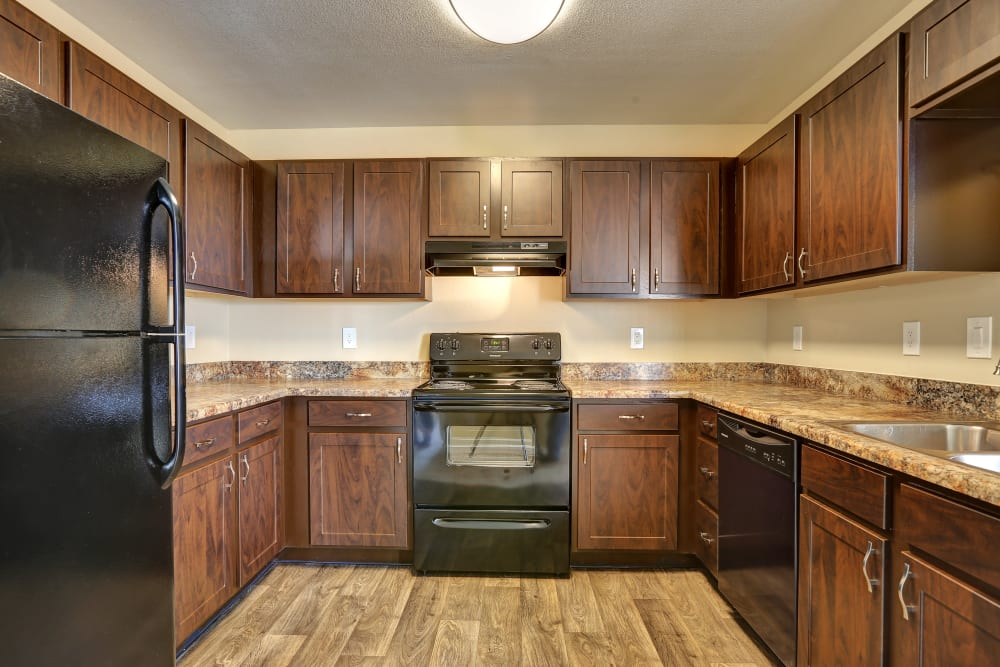 Kitchen at Belle Creek Apartments in Henderson, Colorado