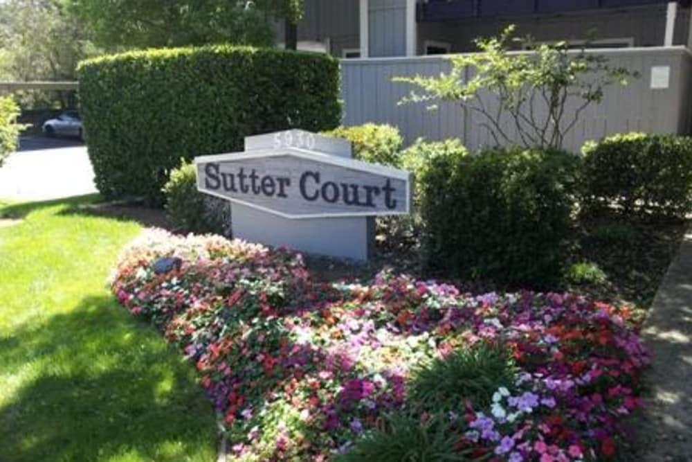 Beautiful gardens at Sutter Court Apartments in Carmichael, California