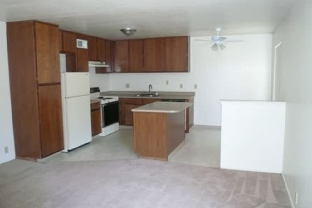 Cozy kitchen at Sutter Court Apartments in Carmichael, California