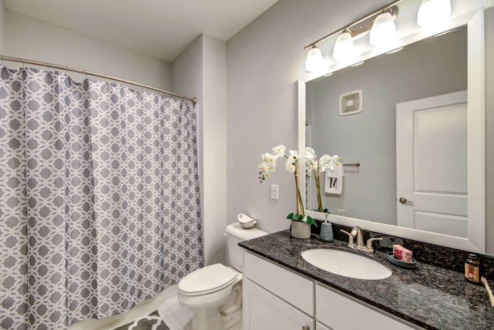 Bathroom model at Manassas Station Apartments in Manassas, Virginia