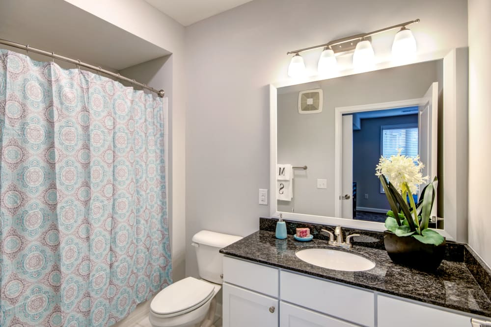 Bathroom with floral accent at Manassas Station Apartments in Manassas, Virginia