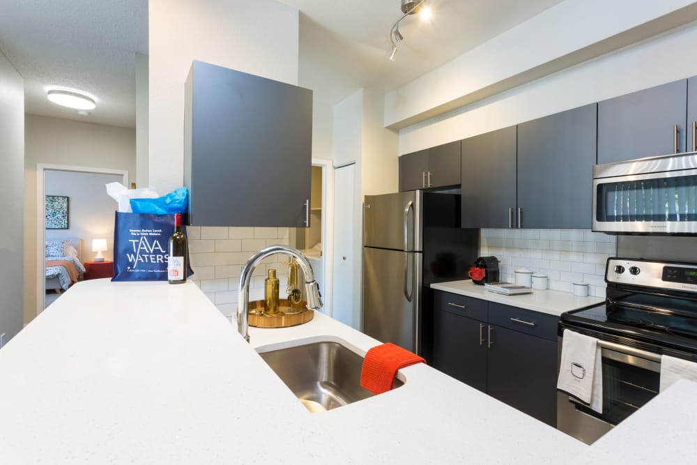 TAVA Waters offers a modern kitchen in Denver, Colorado