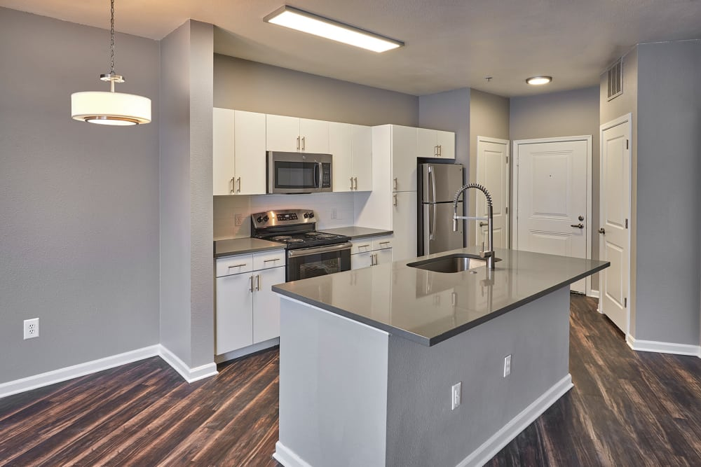 Modern kitchen at apartments in Englewood, CO