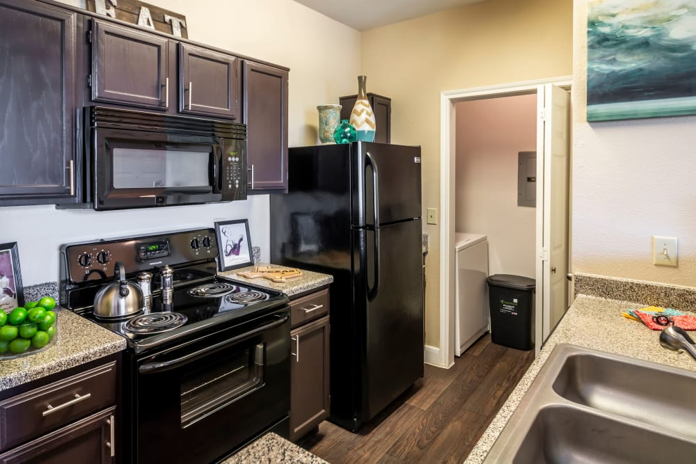 Kitchen with black appliances at Signature Point Apartments