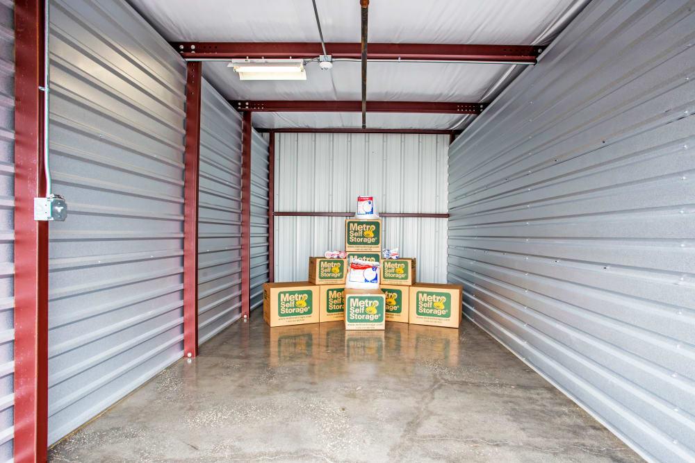Inside the exterior units at Metro Self Storage in Orlando, Florida