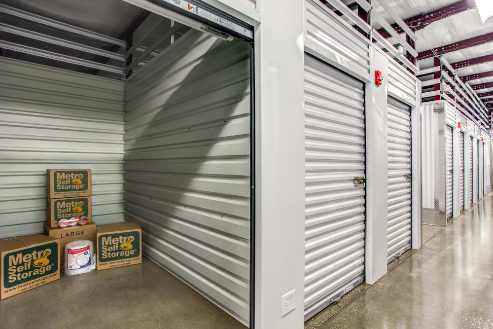 Inside the interior units at Metro Self Storage in Orlando, Florida