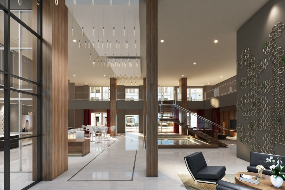 Lobby with high ceilings at The District at Scottsdale in Scottsdale, Arizona