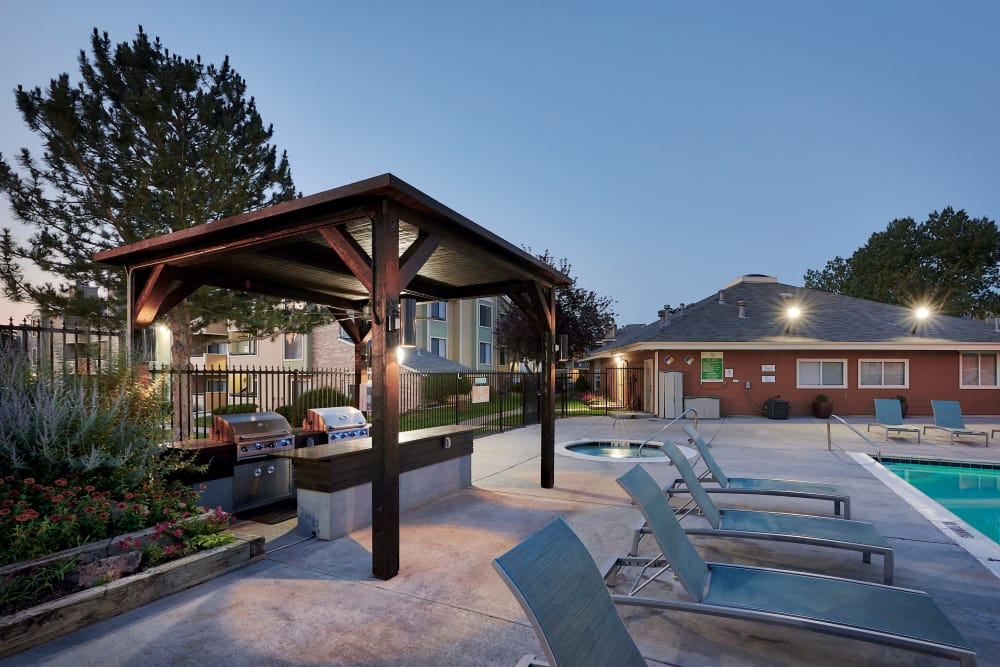 Beautiful swimming pool at Alton Green Apartments in Denver, CO