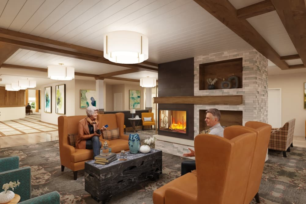 Fireside lounge at The Alexander in Bend, Oregon