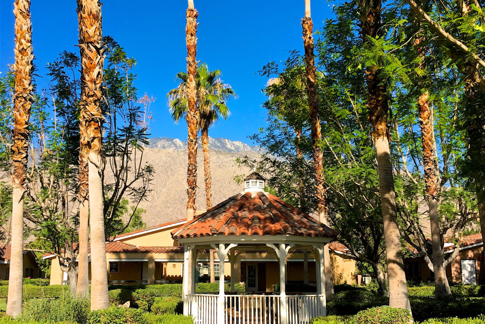 Garden gazebo at Pacifica Senior Living Palm Springs in Palm Springs, California