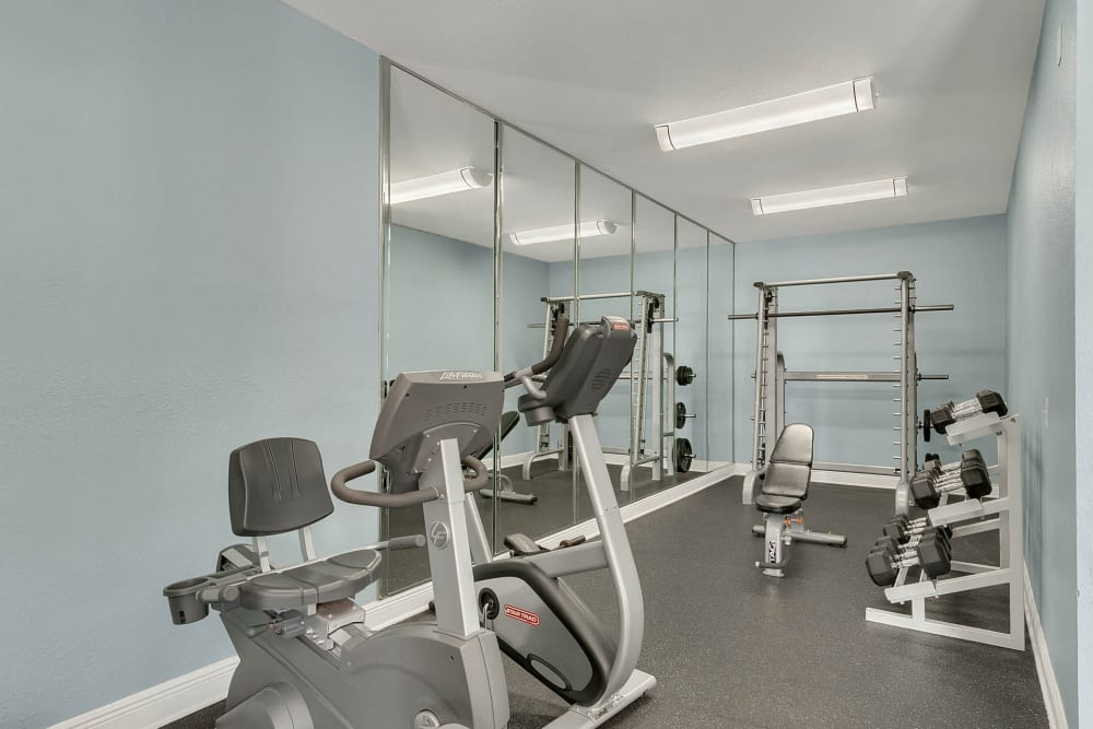 Modern fitness center at apartments in Altamonte Springs, Florida