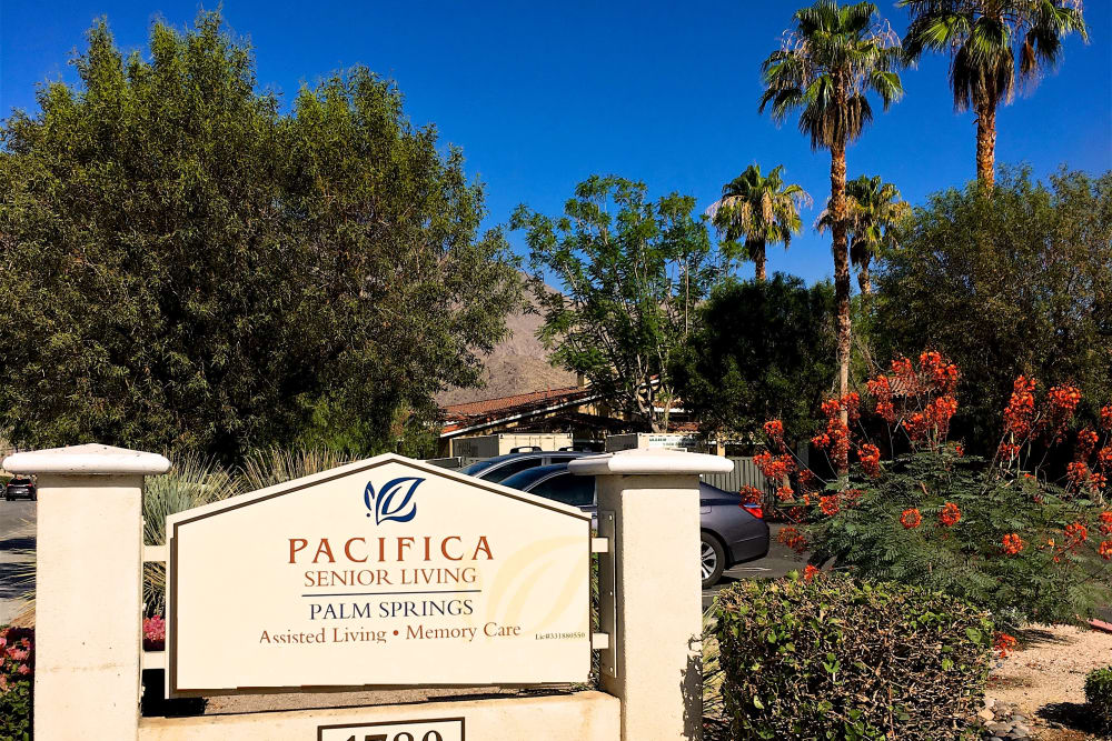 Welcome sign at Pacifica Senior Living Palm Springs in Palm Springs, California