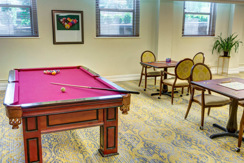 Pool room at Queen Anne Manor Senior Living