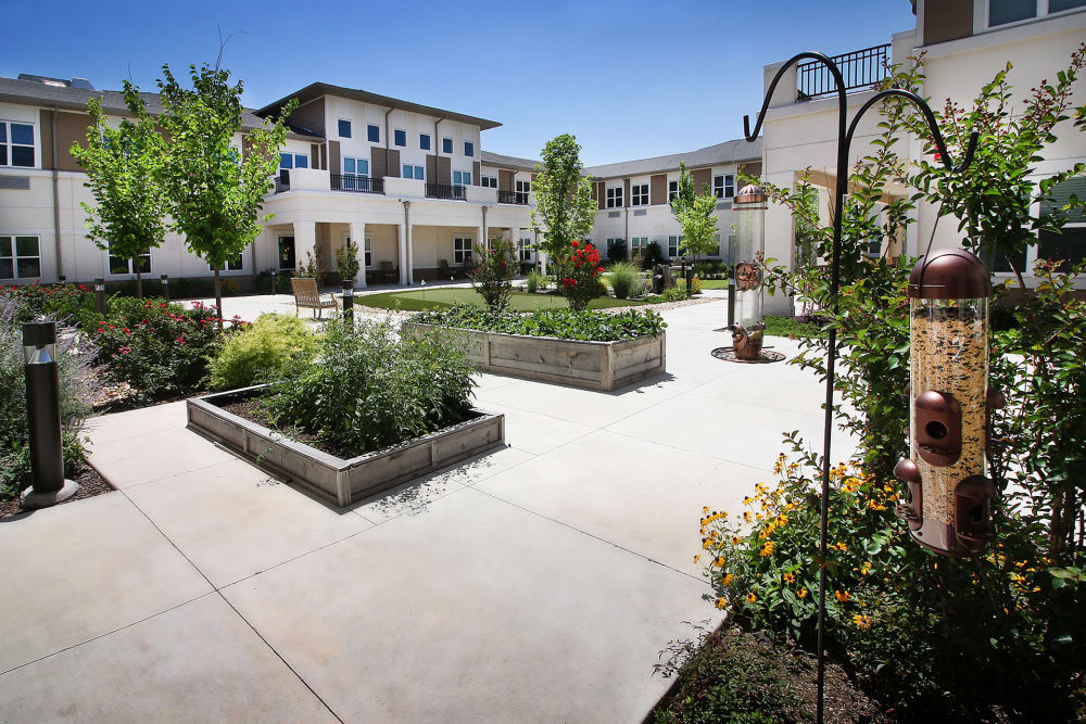 Beautiful garden at Prairie House Assisted Living and Memory Care in Broken Arrow, Oklahoma