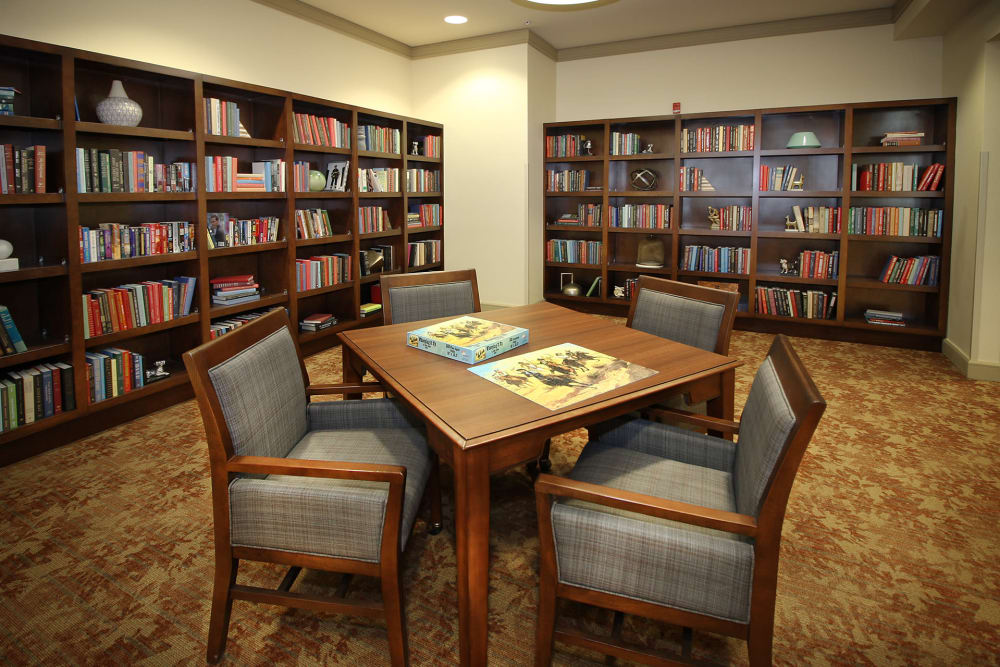 Quiet library room at Prairie House Assisted Living and Memory Care in Broken Arrow, Oklahoma