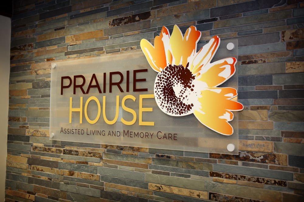 Main sign of Prairie House Assisted Living and Memory Care in Broken Arrow, Oklahoma