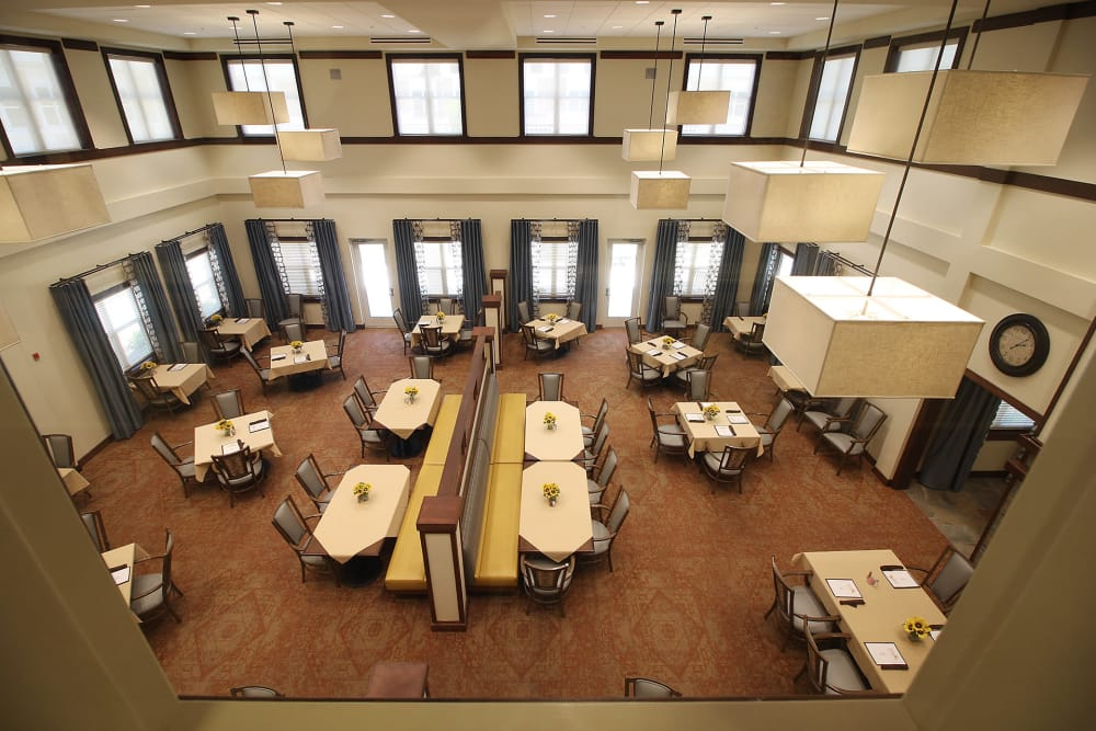 Aerial view of dining room at Prairie House Assisted Living and Memory Care in Broken Arrow, Oklahoma