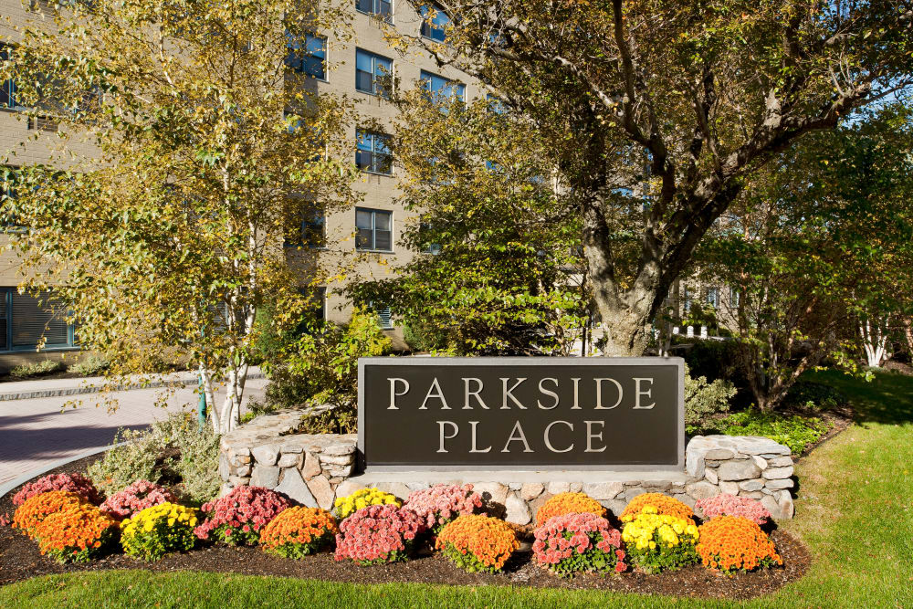 Our sign welcomes residents and guests to Parkside Place in Cambridge, MA