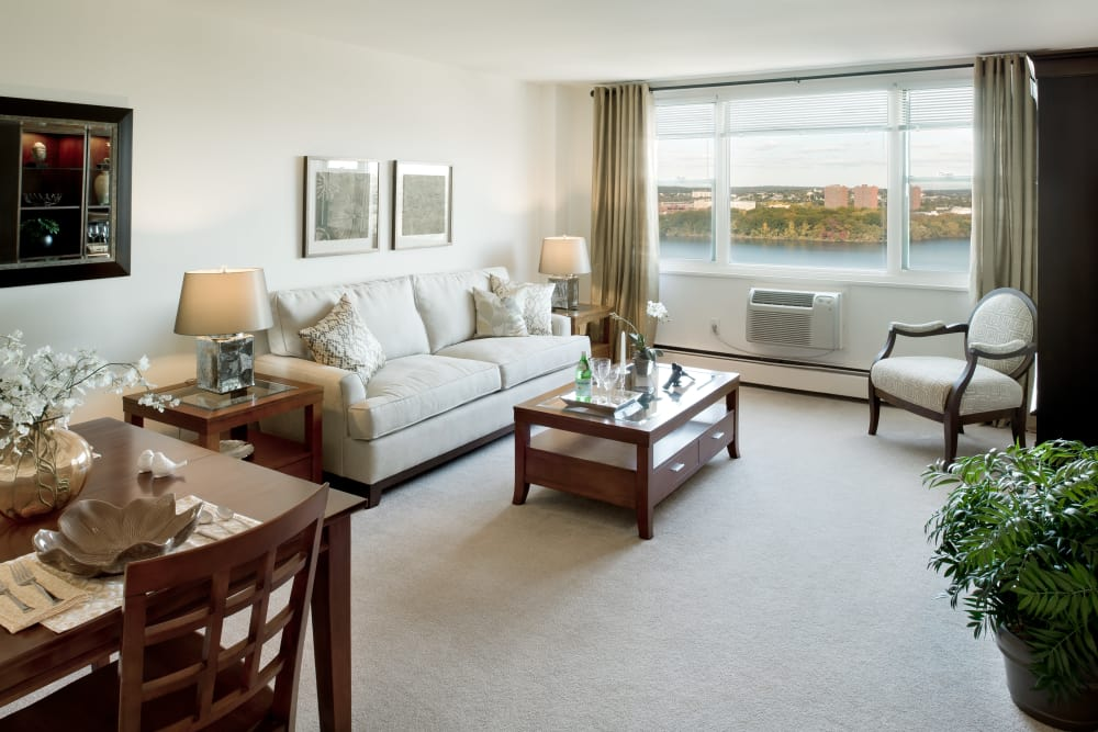 Spacious and light-filled living space in model apartment at Parkside Place in Cambridge, MA