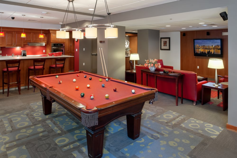 Billiards table and more in resident clubhouse at Parkside Place in Cambridge, MA