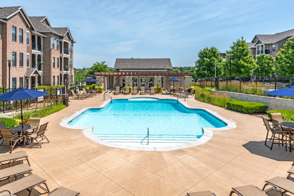 Beautiful swimming pool at West End at City Center in Lenexa, Kansas