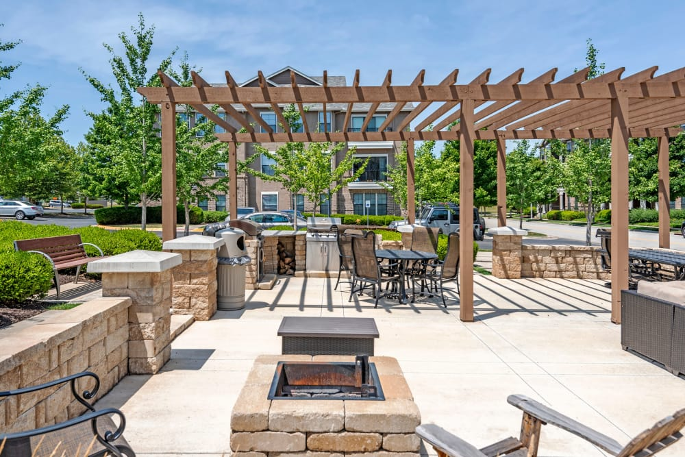 Beautiful bbq area at West End at City Center in Lenexa, Kansas
