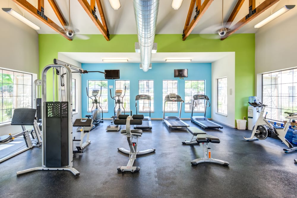 Modern fitness center at West End at City Center in Lenexa, Kansas