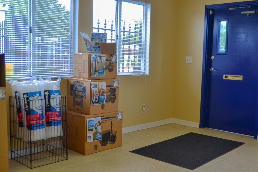 Boxes and moving supplies for sale at Atlantic Self Storage