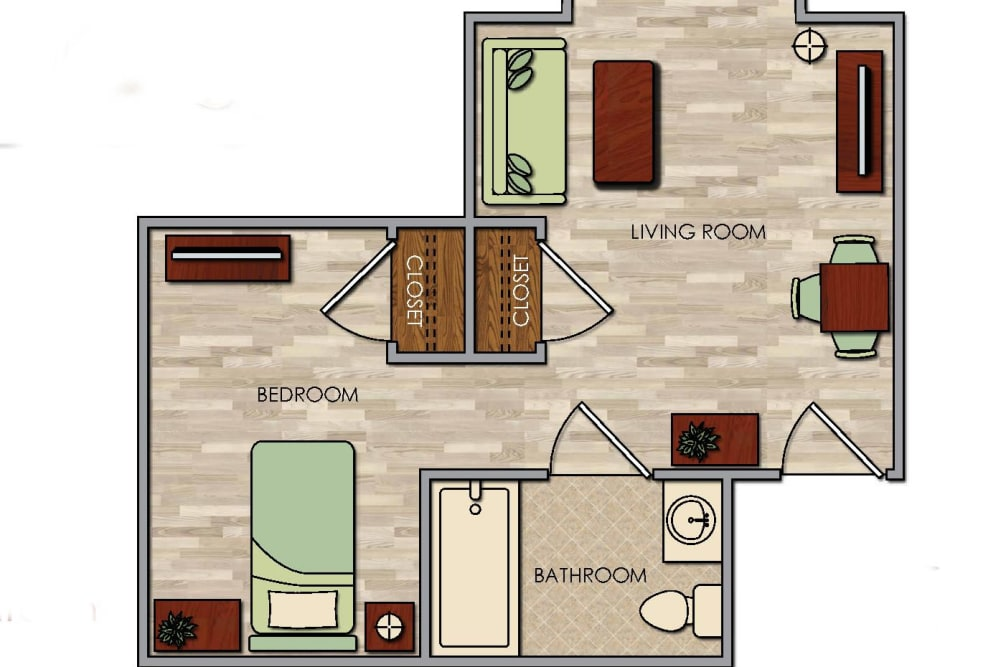 1 BED 1 BATH plan at Pacifica Senior Living Palm Springs in Palm Springs, CA