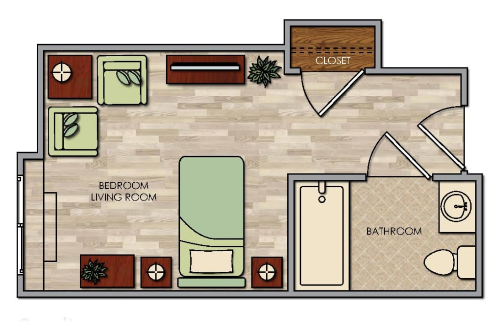 Studio floor plan at Pacifica Senior Living Palm Springs in Palm Springs, CA
