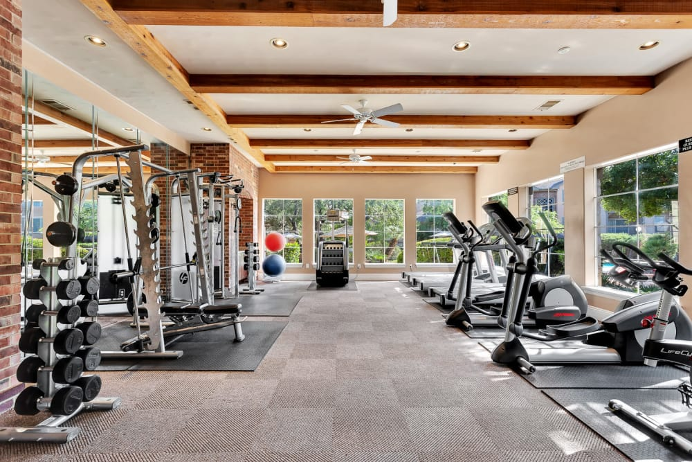 Fitness center at The Estates of Northwoods in San Antonio, Texas