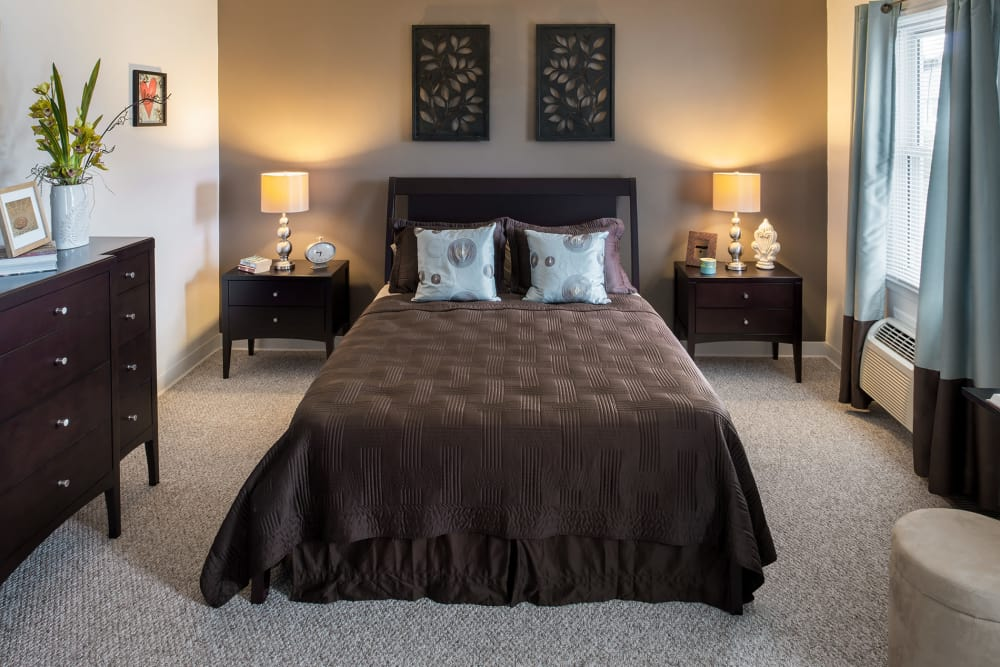 Spacious model bedroom at Stony Brook Commons in Roslindale, Massachusetts