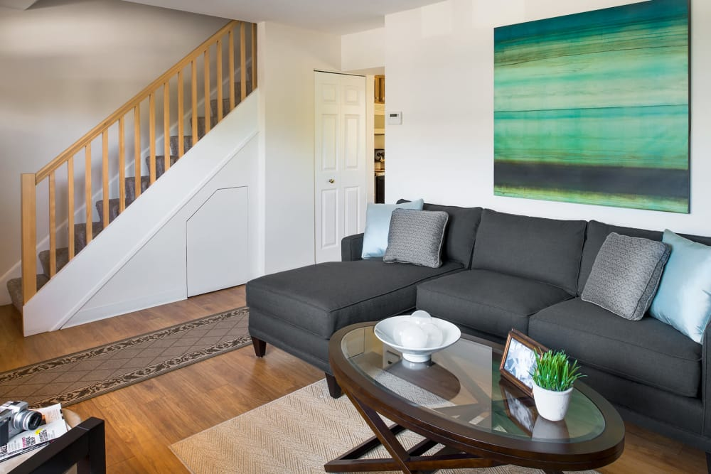 Lovely model living room at Stony Brook Commons in Roslindale, Massachusetts
