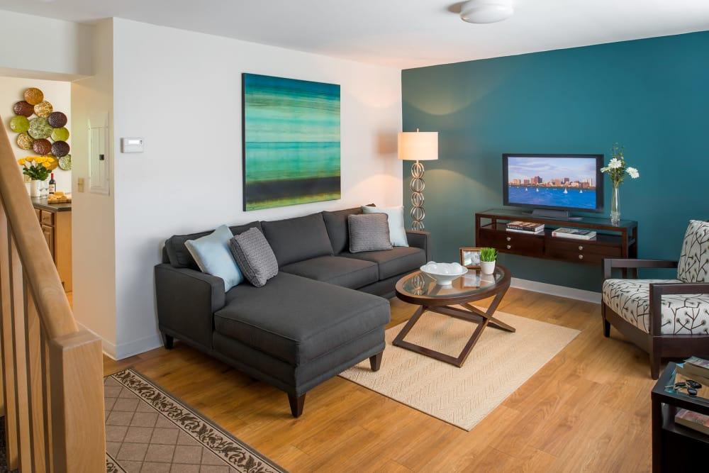 Well-stocked model living room at Stony Brook Commons in Roslindale, Massachusetts