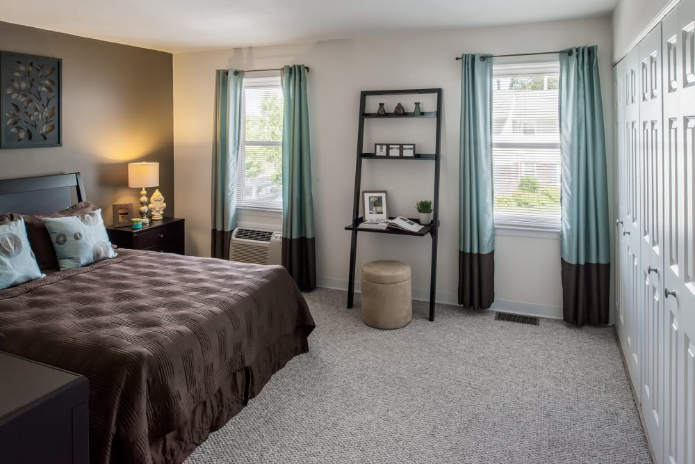 Beautiful model bedroom at Stony Brook Commons in Roslindale, Massachusetts