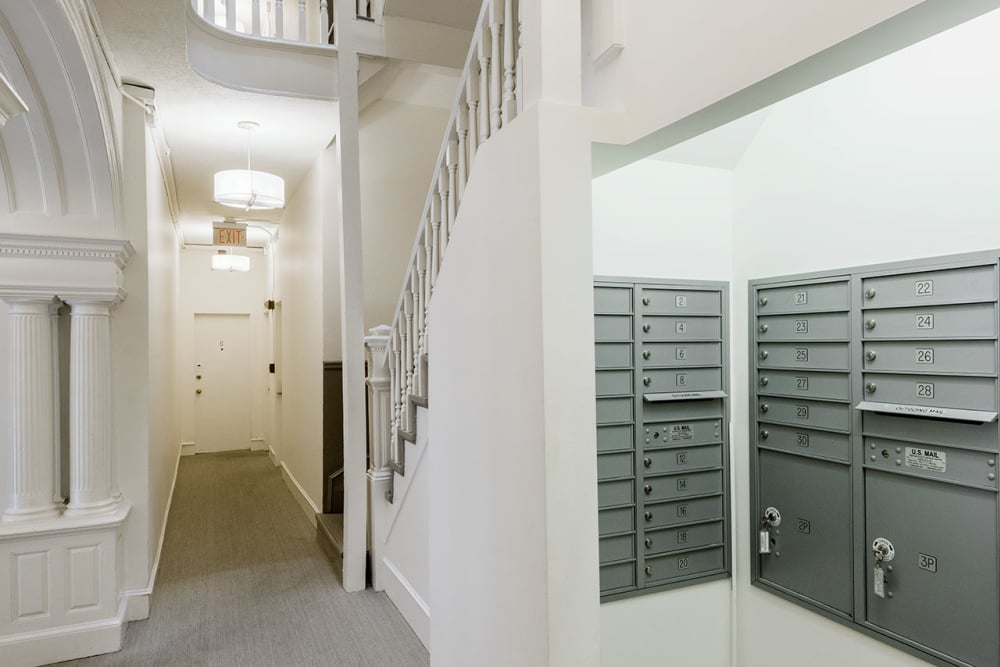 Mailroom area inside of Burbank Apartments in Boston, Massachusetts