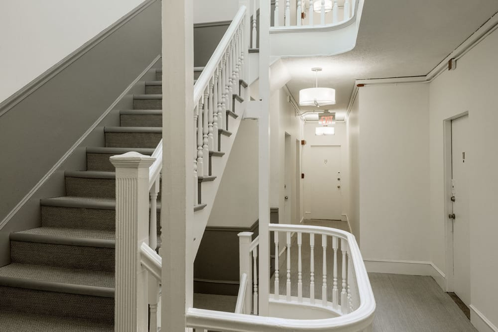 Stairwell inside of Burbank Apartments in Boston, Massachusetts