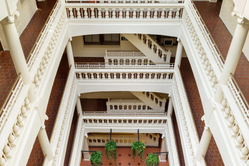 Beautiful atrium at Burbank Apartments in Boston, Massachusetts