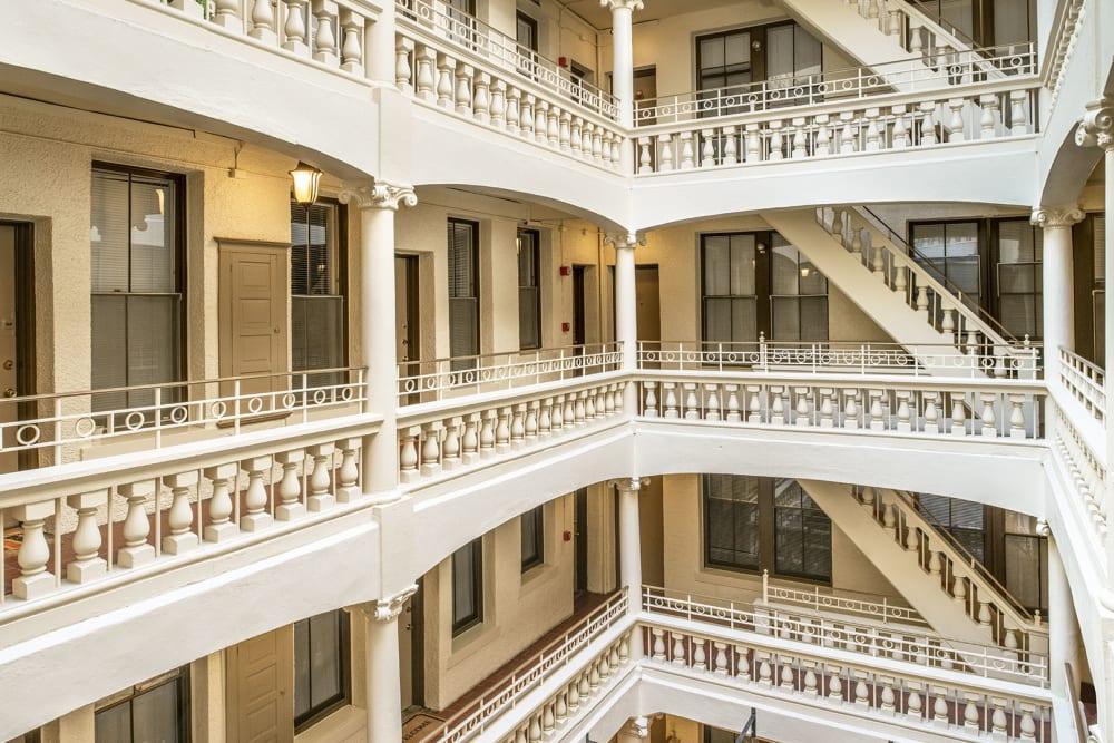 Stairways in the atrium at Burbank Apartments in Boston, Massachusetts
