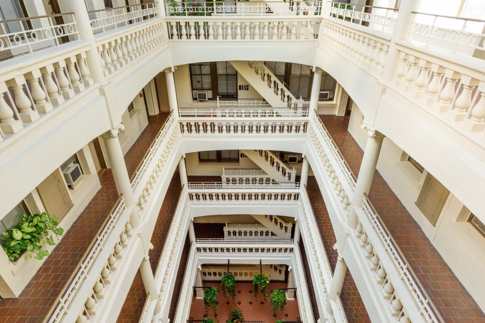 Aerial view of atrium area at Burbank Apartments in Boston, Massachusetts