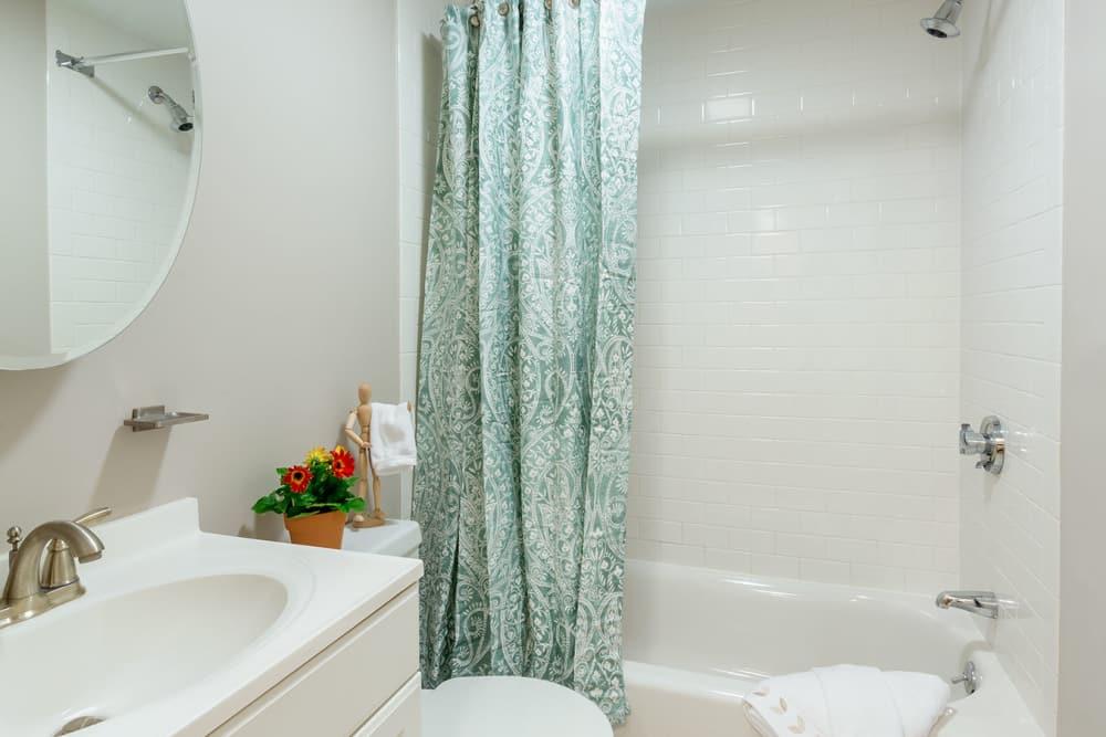 Lovely model bathroom area at Burbank Apartments in Boston, Massachusetts
