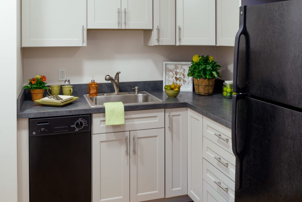 Kitchen area featuring black appliances at Burbank Apartments in Boston, Massachusetts